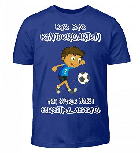 Shirtee Hochwertiges Kinder T-Shirt - Einschulungs T Shirt für Jungen und Mädchen,Kinder T-Shirt - Bye Bye Kindergarten Ich Spiele Jetzt Erstklassig, für Jungen und Mädchen (Spiele T-shirt Ich Fußball)