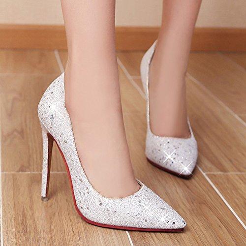 Aisun Damen Elegant Paillette Glitzer Low Top Stiletto High Heels Hochzeit Abendschuhe Pumps Weiß