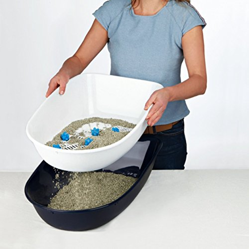 Trixie 40152 Berto Katzentoilette, 39 × 22 × 59 cm, hellblau/dunkelblau/granit - 4