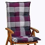 6 Hochlehner Auflagen 120x52x8 cm in Flieder kariert SUN GARDEN Ibiza 10236-35 ohne Sessel