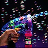 Funny Teddy Electronic Bubble Gun | Bubble Making Toy Gun with Lights and 2 Bubble Solution Bottles | Toy for Kids (Transparent)
