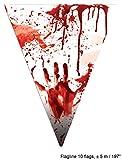 Karneval-Klamotten blutiges Tischdeko Party Set XXL Halloween Horror Blut 38 Teile Teller, Becher, Servietten, Tischdecke, Girlande - 5