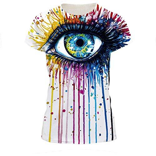 Arc En Ciel Oeil Art T-Shirt Cool Hipster Drôle De Dessin En Blanc Pour Les Femmes L