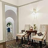XCGZ Wandsticker Feste Weiße Wand Gebäude Haus Korridor Retro-Stil 3D Dekorative Wohnkultur Zimmertür Schlafzimmer Wohnzimmer Hause Tür Aufkleber
