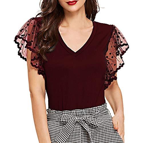 TOPSELD Top Damen, Art Und Weise Frauen Perspektive Punkt Ineinander Greifen Mit V-Ausschnitt T-Shirt Flutter Sleeve Tops ()