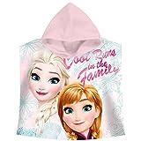 Disney Frozen WD17733 - Poncho da bagno con cappuccio in cotone, Elsa e Anna, Multicolore, 60 x 120 cm