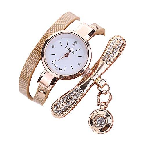 WINWINTOM Las mujeres de cuero del Rhinestone de cuarzo analógico relojes de...