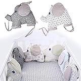 6pièces/Lot pur coton bébé respirant Tour de lit Coussinets, dessin animé en forme d'éléphant Kids Pad Tapis de puzzle Jouets, style créatif Bumper Cradle protection d'écran pour nouveau-né