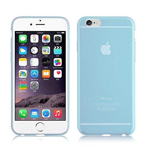 Cover iPhone 6 Plus, JAMMYLIZARD Custodia GEL in Silicone Colorato Trasparente per iPhone 6 Plus e 6s Plus, VERDE TRASPARENTE - BLU