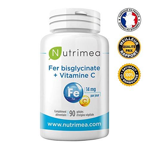FER bisglycinate + Vitamine C NUTRIMEA  Absorption et biodisponibilité maximale  14 mg de Fe/gélule  FABRICATION FRANCAISE...