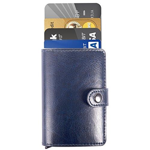 Homme Porte Cartes - ManChDa Hommes Bleu RFID Carte de crédit Titulaire de Automatique Pop-up en Aluminium Blocage Étui en Cuir Entreprise Slim Mini Porte-Monnaie