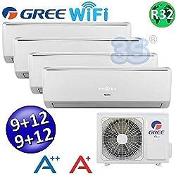 Climatizzatore inverter quadri split LOMO Wi-Fi 9000 + 9000 + 12000 + 12000 Btu GREE R32 classe A++/A+