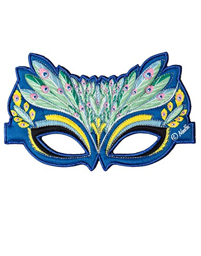 Dreamy Dress-Ups 50799 Mask, Stoffmaske, Peacock, Blaue Pfau Pavo cristatus