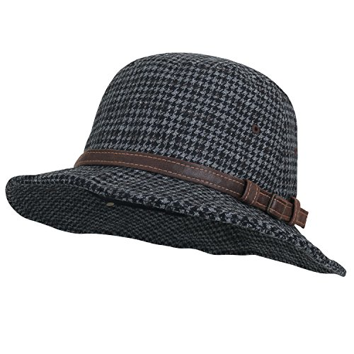 Ililily Soft Checkered Fedora Faux Leather Hat Band Trilby Hat