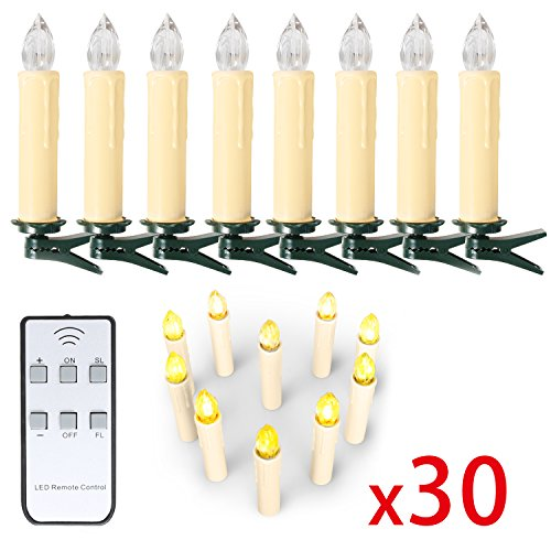 10/ 20/ 30/ 40 er Weinachten LED Kerzen Lichterkette Kerzen Weihnachtskerzen weihnachtsbaum kerzen mit Fernbedienung Kabellos (Beige, 30er)