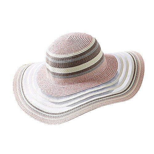 DCRYWRX Frauen Sonne Strand Hüte Strohhut Weiblichen Gestreiften Hut Sommer Sonnenschutz Sonnenhut Weibliche Strand Hut M (56-58 cm),Pink