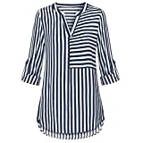 VECDY Moda Blusa De Gasa para Mujer Camisa con Cuello En V Manga Abofetada Blusas A Rayas Camisa Tops Cuello En V Regalo del Dia San Valentin(Azul Marino,M)