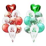 Weimi 18 Stück Weihnachts Dekoration Luftballons Konfetti Luftballons Herz Luftballons für Christmas
