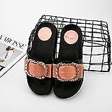 Qsy shoe Tragen Sie EIN Wort auf der Unterseite der Sandalen und Hausschuhe der Sommerfrauen, Diamantschnalle, weiblich, pink, 38