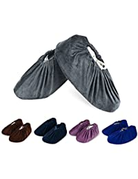 5 Pairs Flannel Overshoes Non-Slip Washable Reusable Shoe Covers for Household Thickened Dustproof Indoor Boot Covers