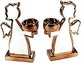 Decoline Teelicht-Halter Engel aus Keramik 2 Stück weiß/Kupfer