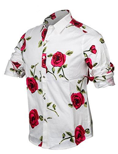 ... APTRO Herren Hemd Blumen Baumwoll Drucken Ferien Art-langärmlig Shirt # 16017 ...