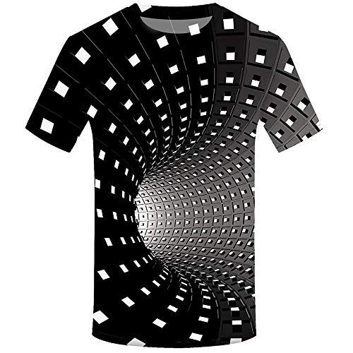 100% Baumwolle Braunen T-shirt (Herren Druck T-Shirt 3D Muster Shirt Kurze Ärmel Grafik Muskelshirt Spaß Motiv Tops Oversize Kurzarmshirt Sport Oberteile Print Unisex Basic Hemd Casual Sommer Lässige (XL, Schwarz B))