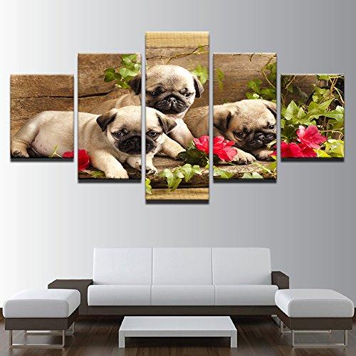 Home Wand Kunst Dekor Rahmen Modular Bilder HD Drucken 5 Stück niedliche Mops Welpen und Blumenmalerei Tier Hund Leinwand Poster, 30 x 40 30 x 60 30 x 80 cm, (Von Halloween Tieren Niedliche Bilder)
