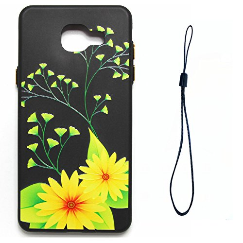 A3 2016 Hülle ,Samsung A3 2016 Shell Case , Galaxy A3 2016 Black Hülle, Cozy Hut® [Liquid Crystal] [Matte Black] [With Lanyard/Strap] Samsung Galaxy A3 2016 Ultra Slim Schutzhülle ,Anti-Scratch Shockp Gelbe Chrysantheme