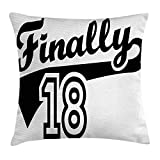 18th Birthday Throw Pillow Cushion Cover, Finally Eighteen Quote Basketball Logo Icon Seemed Sports Movement Image, Decorative Square Accent Pillow Case, 18 X 18 inches, Black and White