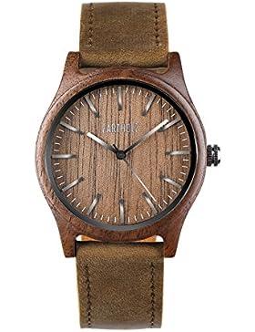 ZARTHOLZ Herren Damen Holz-Armbanduhr Meister aus Walnussholz Holzuhr Braun Silber Analog Quarz Lederarmband 40mm...