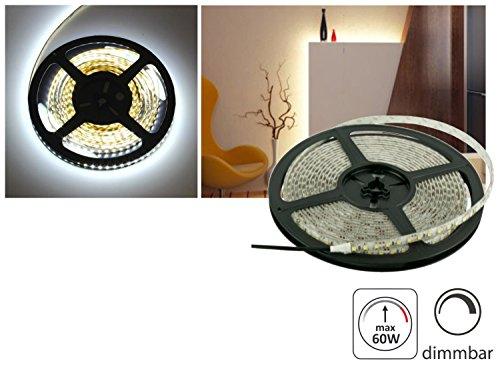 (9,98 €/m) 5m LED Stripe 12V dimmbar - 60W 5000lm - SMD 600 x 3528 -120 SMD/m - IP20 selbstklebend - kaltweiß (6000 K)