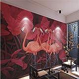 BZDHWWH Benutzerdefinierte Wandbild Tapete Jede Größe 3D Rote Tropische Pflanze Hinterlässt Flamingo Hintergrund Wandbild 3D-Hintergrund,160Cm (H) X 240Cm (W)