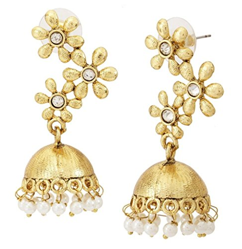 The jewelbox Floral 22k Gold Plated Matte Finish Jhumki Earring For Women