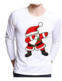 8772e2d4d6651 AIMEE7 Noël Homme Imprimé Créatif T Shirt Manches Longues Sweatshirt Col  Rond Chemise Pas Cher Noël Tee Shirt Pull Noel Sweat Grande…