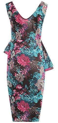 Chocolate Pickle ® Nouveau Femmes Double volants floral Peplum robe moulante Midi 36-50 Splash Cerise Floral Print
