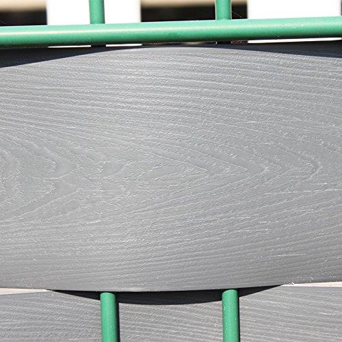 Videx Sichtschutzstreifen für Doppelstabmatten, PVC Holzmaserung, H: 9,5 x L: 250 cm, 18 Stück, anthrazit