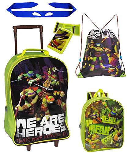 """5 tlg. Reise Set: Trolley + Rucksack + Geldbörse + Turnbeutel + Ninja Band - """" Teenage Mutant Ninja Turtles """" - incl. Namen - für Kinder / Jungen - Trolly mit Rollen - Kindertrolley Kindertrolly - Rei"""