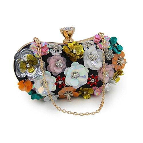 Frauen-Blumen-Abendbeutel Brauttasche Handtasche Black