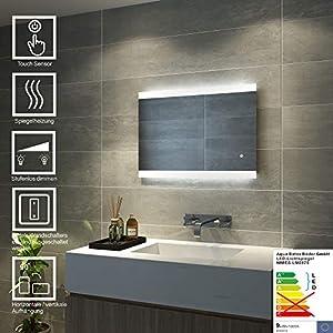 AQUABATOS Badspiegel Lichtspiegel LED Spiegel Dimmbar Wandspiegel mit Sensor-Schalter 70 x 50cm kaltweiß IP44 energiesparend A++