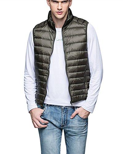 Preisvergleich Produktbild Herren Leicht Schlank Atmungsaktiv Weste Ärmellos Mantel Einfarbig Reißverschluss Jacke Armee-Grün XL