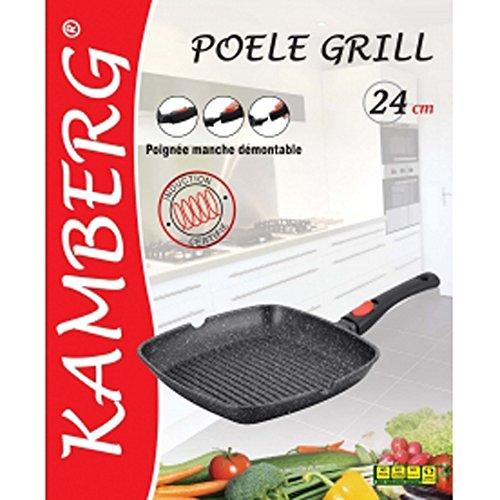 Kamberg - 0008028 - Poêle Grill 24 x 24 cm - Manche Amovible - Fonte d'Aluminium - Revêtement type pierre - Tous feux dont induction - Sans PFOA