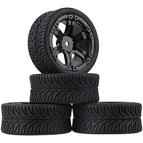 Youzone Negro sale del modelo RC Neumático de caucho y de plástico negro y 6 Rayos Ruedas llantas de 1:10 rc En carretera coche de carreras (paquete de 4)