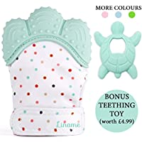 *LIMITED OFFER* - Liname Teething Mitten for Babies with BONUS Teething Toy & eBook - Safe (BPA Free), Washable & Durable Teething Mitt – Provides Soothing Relief from Sore Gums & Hands From Excess Saliva (Mint)