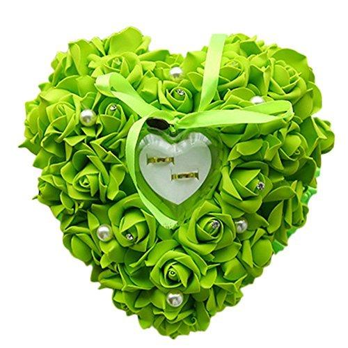 ose Blumen Perle Hochzeit Schmuck Ring Kissen ring Box Herz Gastgeschenken Ring Kissen, Schaumstoff, grün, 24 x 22 cm ()