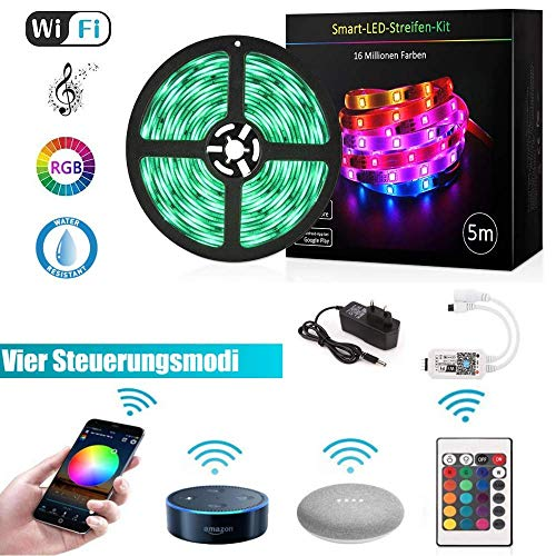 LED Strip Google Home, GoKlug LED Strip Alexa Streifen 5m LED Band Fernseher LED Lichterkette Musik Sync Band Leiste Profil LED Streifen Dimmbar IP65 LED Band RGB TV Wifi LED Strip Smart App Steuerbar