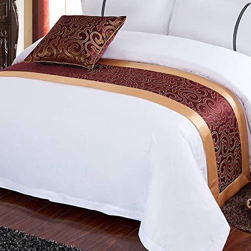 Qcqzp letto runner hotel hotel biancheria da letto accessori decorativi hotel a cinque stelle lusso letto bandiera letto sciarpa, grande fiore gancio, 50 * 240 cm (1,8 m letto)