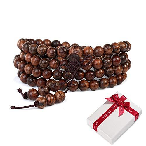 108 Holz-Perlen Gebetskette Buddhismus 6mm Armband für Yoga Meditation Gebet,Braun Elastisches Buddhistische Tibetisch Buddha Mala Kette Handgelenk Armbänder Halskette für Damen Herren Geschenk