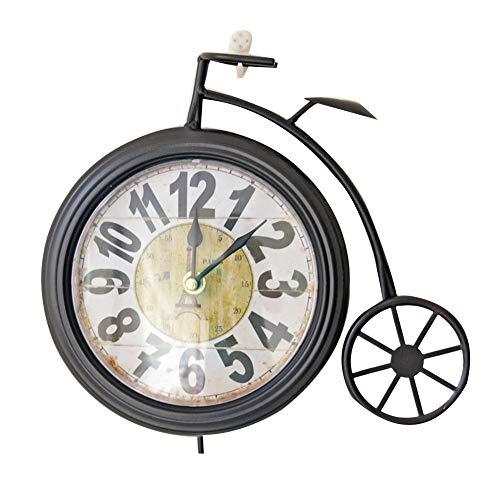 BGGZXX Reloj de Pared Viento Industrial Creativo Bicicleta Colgante de Pared Decorativo Arte del Hierro, Adecuado para Cocina de casa Grande,Black