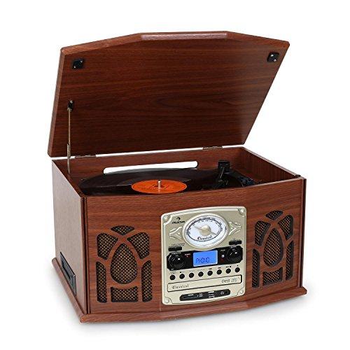 Auna NR-620 Retro • Tourne-Disque • Chaîne stéréo • Transmission par Courroie • Max. 45 Tours • Radio • Réception FM/AM • Affichage de la Bande de fréquence • Haut-parleurs 2x2 W• Marron